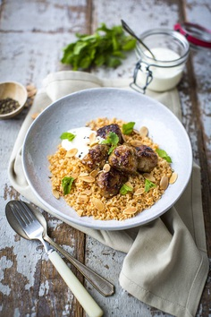 Morrocan Spiced Sausage Meatballs with Harissa Cous Cous | DonalSkehan.com, Made mostly of store cupboard staples.