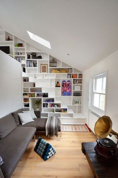 interior design home decor living room 5 http://www.womans heaven.com/living room interior design 2/ #bookshelf #stairs