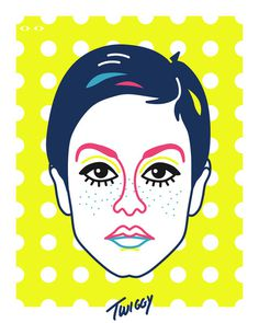 Twiggy Art Print #illustration #fashion #model #portrait #pop art #england #super #twiggy #michael arnold #60s