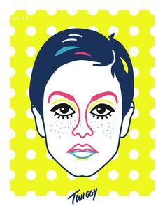 Twiggy Art Print #model #60s #pop #super #michael #arnold #illustration #portrait #twiggy #art #fashion #england