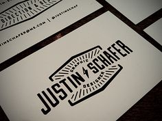 Business Cards #nebraska #justin #branding #business #designer #card #serif #design #retro #graphic #black #logo #symmetry #seal #sans #vintage #schafer #type #typography