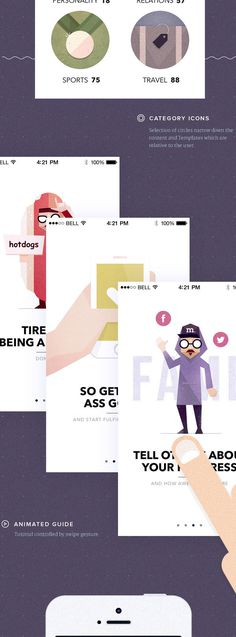 I really really really like the character design and styling of this app explanation. #visionare #app design #character design #ux design #u