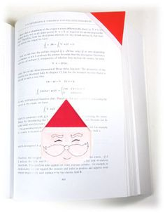 How to make an origami bookmark of santa-face (http://www.origami-make.org/howto-origami-bookmark.php)
