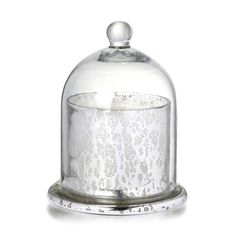 Votive with Dome Antique Silver Glass With Wax H15cm x W11.5cm