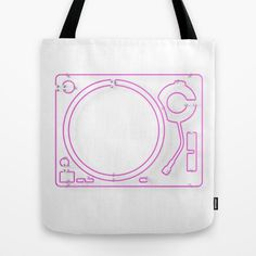 Neon Turntable #2 Tote Bag at Søciety6 #turntable #technics1200 #neonsign #3dart #cinema4d #3drender #rickardarvius