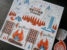 Swink Inc. Self Promo Campfire Set. | Studio On Fire #orange #letterpress #on #illustration #fire #studio #storytelling #blue