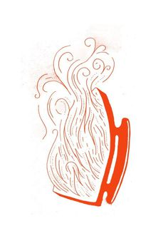 Careful, its hot. #ink #line #red #print #retro #iron #hot #illustration #fire #vintage #drawing #sketch