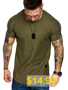 Shoulder #Pleated #Design #Round #Neck #Short #Sleeve #T-shirt #- #ARMY #GREEN