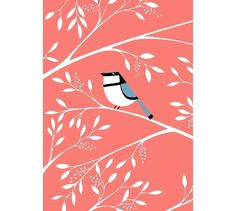 PINK #kalorkoti #pink #eleni #bird #illustration #leaves