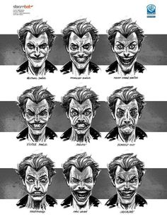 Joker BATMAN: ARKHAM ORIGINS Concept Art: Character, Weapon & Prop Designs #batman #joker #expressions