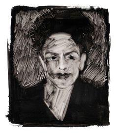 julie #illustration #portrait #black and white #oil