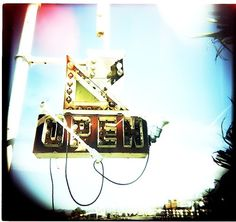 open | Flickr - Photo Sharing! #found #signage #type #open #neon