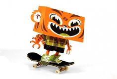 Creative Review - Paper Toys: Tougui #skateboard #tiger #paper #figures