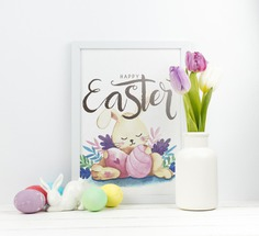 Happy easter day Free Psd. See more inspiration related to Flower, Mockup, Floral, Card, Template, Leaf, Typography, Spring, Leaves, Celebration, Happy, Font, Holiday, Mock up, Easter, Religion, Rabbit, Egg, Calligraphy, Lettering, Traditional, Greeting card, Bunny, Tulip, Up, Vase, Day, Greeting, Cultural, Tradition, Mock, Seasonal and Paschal on Freepik.