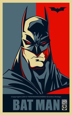 batman-portrait-style-obama-hope #batman #shepard fairy