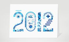 GE 2012 Holiday card highlighting the company's commitment to Energy, Transportation, Manufacturing and Health. #card #print #2012 #health #holiday #energy #transportation #ge