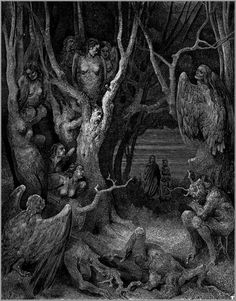 Harpies in the Forest of Suicides - Gustave Dore #folklore #fantasy #white #darkness #macabre #haunting #horror #mythology #black #monsters #illustration #vintage #etching #and #harpies #suicide #spirits #trees
