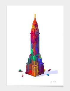 The Chrysler building made of toy blocks