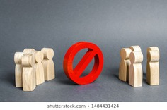 Two groups of people are divided by a red prohibition sign NO. prohibition, taboo, and rejection. Conservatism, misunderstanding new. Laws Restrictions of rights and freedoms. Civil conflict.