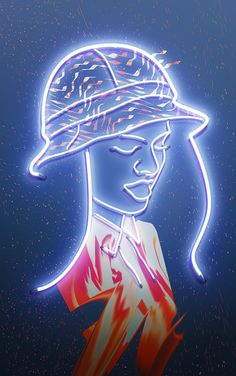 Lights by Vasya Kolotusha #pattern #woman #lights #illustration #art #kolotusha #neon