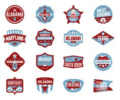 South Badges #usa #america #oklahoma #florida #kentucky #texas #badges #tennessee #delaware #virginia #states #west virginia #georgia #north