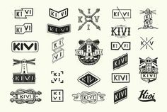 Sketches of logos for the KIVI company producing accessorizes