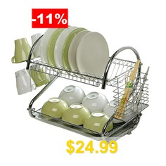 S-Shaped #Dish #Rack #Set #2-Tier #Stainless #Plate #Dish #Cutlery #Cup #Rack #With #Tray #Steel #Drain #Bowl #Rack