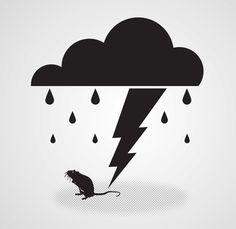 Wet Rat on the Behance Network #branding #cloud #halftones #rain #identity #rat #lightning #logo