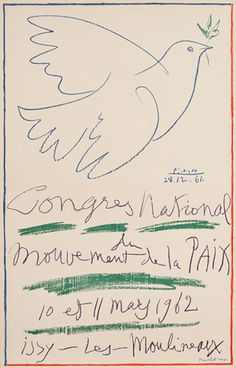 Congres National by Pablo Picasso from kingandmcgaw.com #Poster #Print #Art #Printing #Lithograph #Picasso #Dove #Drawing #Mourlot