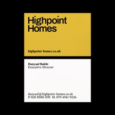 Highpoint Homes is a London based real estate management company providing services to landlords and tenants. Their new logo is made of solid typography and exudes stability. Colorplan's Citrine highlights the excitement of a new opportunity.