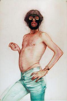 Drawings by artist Geoffrey Chadsey #mask #figure #portrait #drawing
