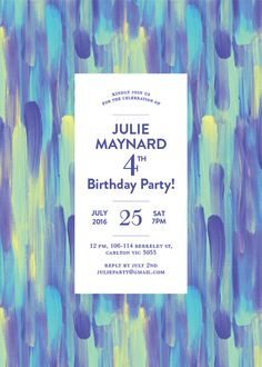 Paint Strokes - Birthday Invitations #paperlust #paper #cards #print #digitalcards #design #birthday #birthdayinvitation #invitation #weddi