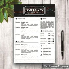 Looking for a professional resume template? The unisex James Black resume design is for you. The grey sidebar is modern, professional, and c