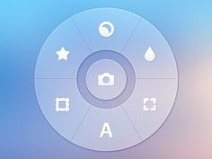 Photo App - Radial Controller by http://ramotion.com #user #inspiration #photos #ux #8 #design #application #appstore #interface #ui #experience #iphone #app #mobile #ios #gui #buttons