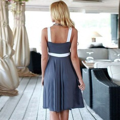 Fashiontage - Grey V-Neck Sleeveless Above Knee Dress - 842075242557