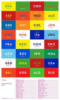 Download your 'World Cup 2014' Sweepstake Kit in the link below: http://www.them.co.uk/content/33827/sweepstake/sweepstake_kit_ … #them #sweepstakes #money #world #colours #country #2014 #football #kit #games #cup