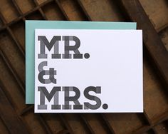 Letterpress Card Individual Mr. #card #letterpress