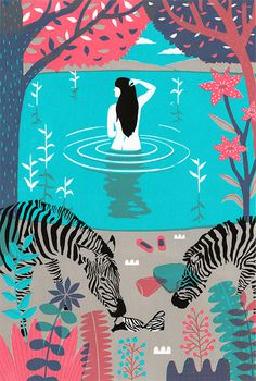 tumblr_mrudh92cxX1rymh72o1_1280 #lake #illustration #zebra #woman