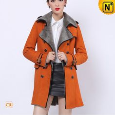 Ladies Genuine Shearling Pea Coat CW644108 #ladies #shearling #coat