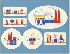 Build The Town Posters By Ladislav Sutnar - Daddy Types #screenprint #1940s #prototype #building blocks #ladislav sutnar