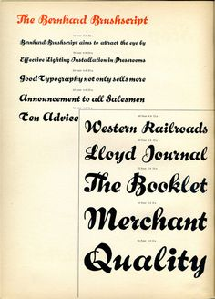 Bernhard Brushscript type specimen