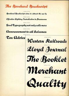 Bernhard Brushscript type specimen #type #specimen #typography