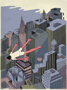 Josh Cochran: work #flying #city #illustration