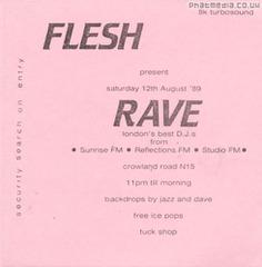 Flesh Rave - Early Rave Flyers