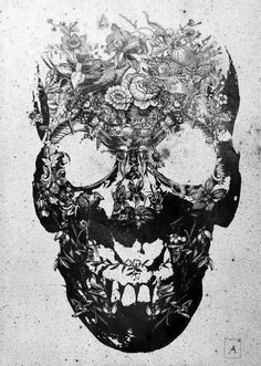Tumblr_m7zhj5gxut1r8yl0oo1_500_large #skull #flowers