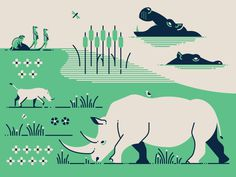 South Africa Animals by Makers Company #rhino #hippo #pig #animal #illustration #iconic #icon #geometric