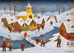 winter-in-the-village-mihai-dascalu.jpg 600×434 pixels #naive #painting #illustration #art
