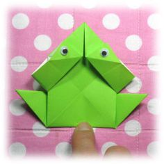 How to make a traditional origami jumping frog (http://www.origami-make.org/howto-origami-frog.php)