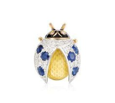 Sapphire And Diamond Enamel Brooch/Pendant