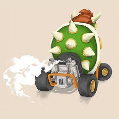 Bowser - Mariokart64 #Mario #bowser #illustration #gaming #N64 #Mariokart #Retro #villain #nintendo